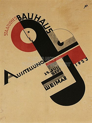 EXHIBITION BAUHAUS WEIMAR ICON GERMANY VINTAGE RETRO ADVERTISING 24x18 INCH (61x46 Cms) PLAKAT...
