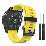 MoKo Armband für Garmin Fenix 3 / Fenix 5x Sport Watch - Silikon Sportarmband Uhr Band Strap Ersatzarmband Uhrenarmband mit Werkzeug für Garmin Fenix 3 / Fenix 3 HR GPS Smart Watch, Gelb