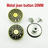 HomAlLove 60PCS 20MM Mixed Metal Jeans Button Sewing Clothes Accessories Trousers Jean Button Decoration JMB-023,14