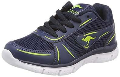 KangaROOS Unisex-Kinder K-Reg V Sneaker, Blau (Dk Navy/Lime), 29 EU