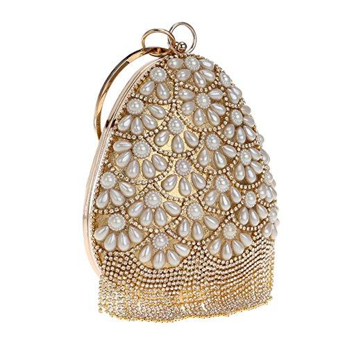 YAN Damen Abend Handtaschen Pearl Hand Clutches Kosmetiktasche Travel Storage Make-up Lagerung Gold, Rot, Blau, Schwarz, Silber (Color : Gold) (Pearl Abend-handtasche)