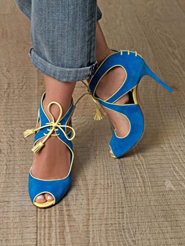 Onlymaker Damenschuhe High Heels Freie Toe Mary Janes Sandale Blau