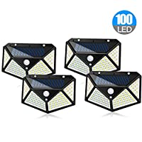 ADDCOOL Solar Light Outdoor 100 LED Waterproof Security Wall Night Light with Motion Sensor 270° Wide Angle for Pathway Porch Yard Garage Garden Fence Walkway Driveway (4pcs)