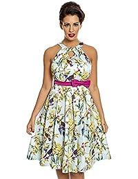 f9dcd21ed85a Lindy Bop Cherel' Blue Tropical Bird Print Swing Dress