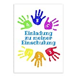 12 Einladungskarten Einschulung mit Umschlag/Bunte Handabdrücke/Einladung 1. Schultag in der Schule/2-seitige Karte