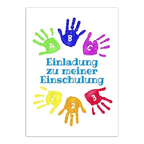 12 Einladungskarten Einschulung mit Umschlag/Bunte Handabdrücke/Einladung 1. Schultag in der Schule / 2-seitige Karte