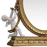 Tisch Spiegel Barock Stil Goldfarbe Stand Spiegel Schminktisch Kommode Antikstil - 2