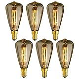 KJLARS 6x Vintage Birne Edison Glühlampe Glühbirne E14 25W ST48 warmweiß Filament Fadenlampe Für Retro Nostalgie Industry Style Leuchtmittell (6 Stück)
