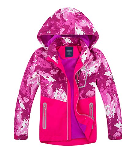 LAUSONS Boys Waterproof Jacket Toddler Girls Camo Windbreaker with Hood