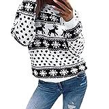 Christmas Pullover Bluse Tops Damen Weihnachten Blumen Drucken langarm Sweatshirt cute Hemd Mantel weihnachtspullover rentier Fashion Pulli warme elegante T-shirt Elecenty (Schwarz, M)