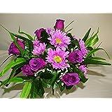 36 cm grande di seta rosa viola & Gerbera fiore Bush - Per la casa e la tomba di nozze