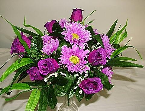 Grand bouquet de fleurs de 36cm de luxe en soie artificielle roses et gerberas violettes–pour maison mariage tombe