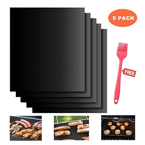 Soledì Set di 5 Stuoie Antiaderenti per Grill Barbecue PTFE Carta da Forno Riutilizzabile Approvato FDA
