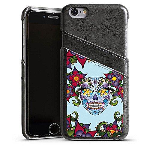 Apple iPhone 5s Housse Étui Protection Coque Fleurs Tête de mort Fleurs Étui en cuir gris