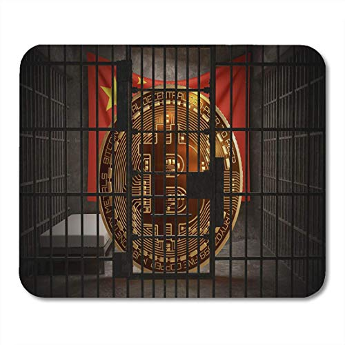 Luancrop Mauspads Bergbau Bitcoin-Verbote in China BTC Illegal Blockchain Technology Mauspad für Notebooks, Desktop-Computer Matten Bürobedarf