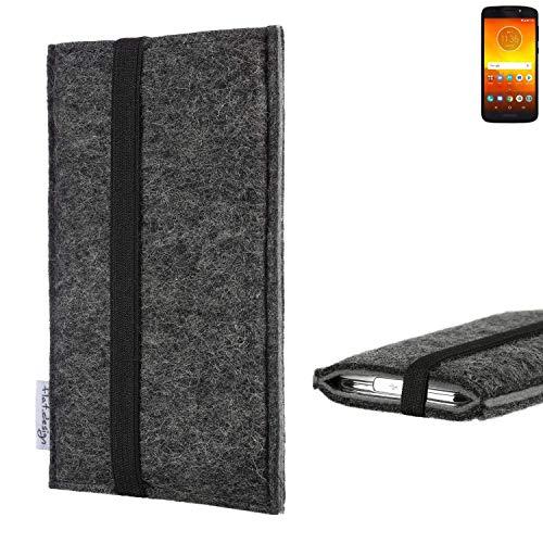 flat.design Handyhülle Lagoa für Motorola Moto E5 Dual SIM   Farbe: anthrazit/grau   Smartphone-Tasche aus Filz   Handy Schutzhülle  Handytasche Made in Germany