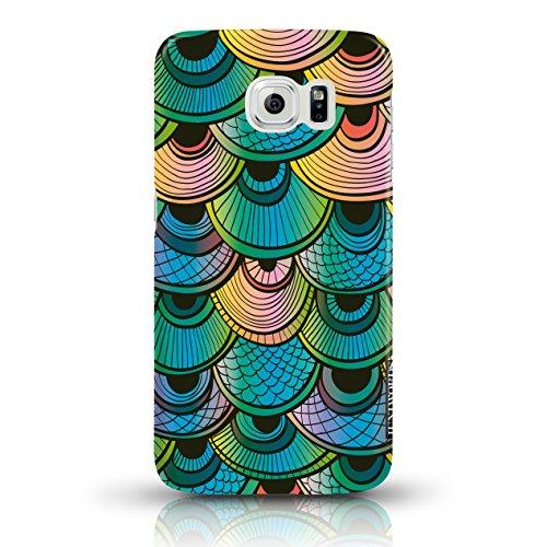 """JUNIWORDS Handyhüllen Slim Case für Samsung Galaxy S6 - Motiv """"Bunter Elefant schwarz"""" Schutzhülle für Ihr Smartphone Fischschuppen Regenbogen"""