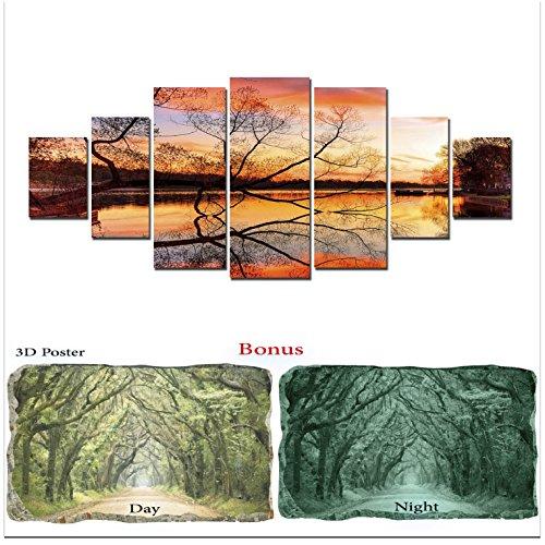 Grande toile murale Motif paysage Startonight Bundle Doré Coucher de soleil sur le lac, Big encadrée Peinture, cadeau gratuit Poster 3d Vert arbres