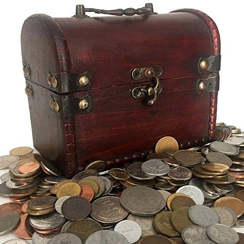 Monedas de COLECCION - 1 Kilo de monedas + Cofre de madera