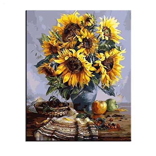Junior Billig Kostüm - RYUANYUAN Blumen-Ölgemälde-Färbung Durch Zahlen Auf Leinwand Handgemaltes Dekoratives Bild Billiges Ölgemälde 16x20 inch (40x50 cm) Rahmenlos