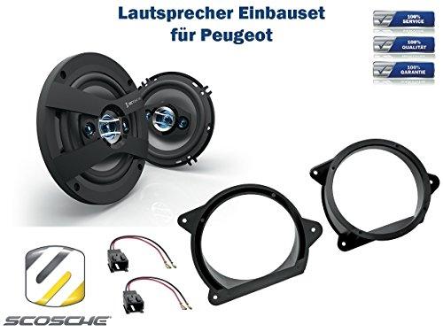 Peugeot 207 CC alle Modelle Lautsprecher Einbauset (Türe Front) inkl. Scosche HD6504 165mm 3 Wege Triaxial Lautsprecher 200Watt Scosche Audio