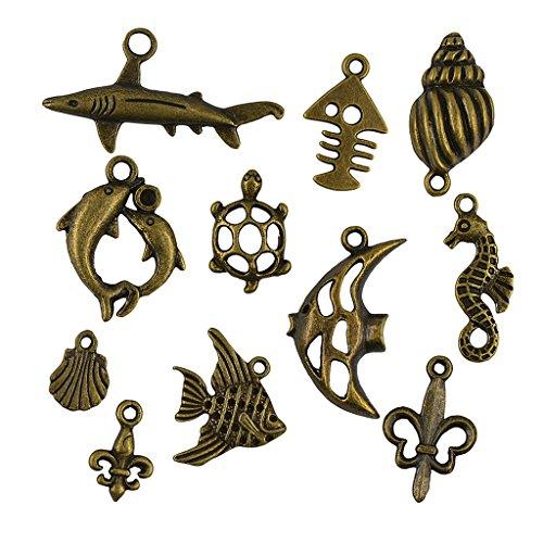 Gazechimp 50pcs Antike Bronze Nautischen Boot Zufällige Mischung Charms Anhänger Schmuck Gemischt (Fußkettchen Pinguin)