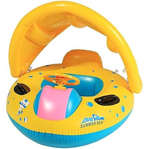 Arshiner Flotador para Bebé con Asiento y Techo Juguete de Piscina de Desarrollo de Nata Natación en Agua