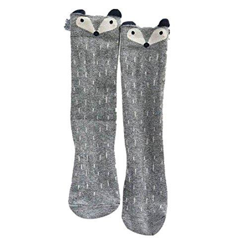 DDLBiz® Kinder Mädchen Fox Muster Knee High Socks Strümpfe (1-3 Years, Grau)