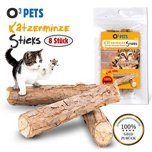 O³ Pets Katzenminze Stick // 8 XXL Katzensticks aus Matatabi Holz // Katzenspielzeug zur...