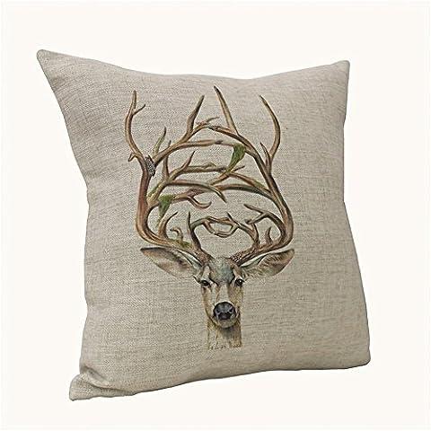 NKaylockstore Elk VV-1095 Linen Decorative Pillowcase Cushion Cover for Sofa Pillow Case 18 X 18 Inch