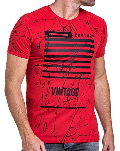 BLZ jeans - Grafik rotes T-Shirt mit ausgefallenem Reißverschluss Rot