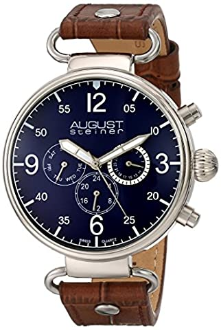 August Steiner Men's AS8131BU Silver Multifunction Swiss Quartz Watch with Blue Dial and Brown Leather