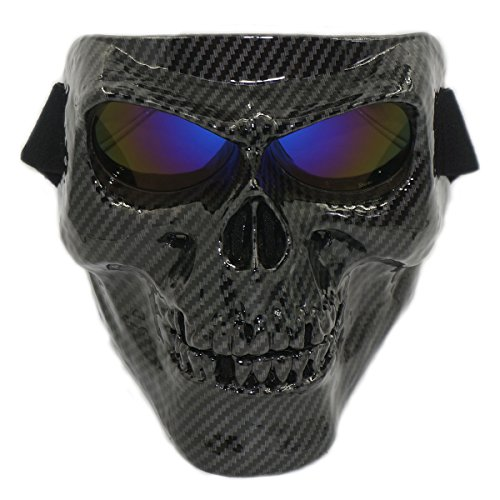 Vhccirt Masque Visage Tête de Mort avec Lunettes Coupe-Vent Tactique Squelette Ghost Spooky Masque pour Airsoft Paintball Moto Moto Racing, Verre Bleu en Fibre de Carbone.