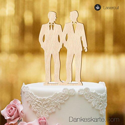 Dankeskarte.com Cake Topper Mr&Mr - für die Hochzeitstorte - Buchenholz - XL
