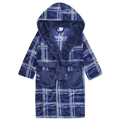 4 KIDZ Boys Plaid Hooded Dressing Gown - Fluffy Fleece Robe
