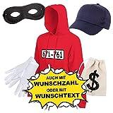 Shirt-Panda Unisex Hoodie Panzerknacker Karneval Kostüm mit Wunschnummer-STANDARDNUMMER Herren und Kinder Verkleidung