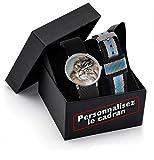 Montre personnalisable avec une photo + Coffret cadeau personnalisé avec deux bracelets Nato tressés noir. Créez ici un modèle unique et visualisez votre propre montre personnalisée.