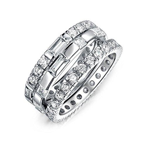 Bling Jewelry 3 Pezzi Argento Cubic Zirconia Eternity Anello impilabile