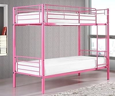 Kids Bunk Bed Single Sleeper Metal Frame Childrens Bedroom Furniture Pink 3ft