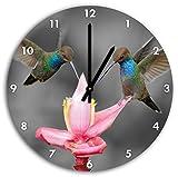 Deux colibris volant sous les tropiques B & W détail, diamètre horloge murale 30cm avec le noir a souligné les mains et le visage, des objets de décoration, Designuhr, composite aluminium très agréable pour salon, bureau