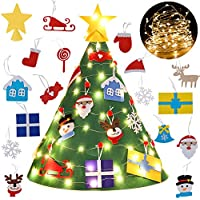 Bageek FAI DA Te Albero di Natale in Feltro con Ornamenti LED per Bambini, Regali di Natale, 18 Pezzi Capodanno Decorazioni per Decorazioni da Appendere Decorazioni Natalizie