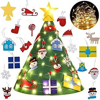 Filz-WeihnachtsbaumBageek-DIY-weihnachtsbaumstnder-Filz-Dekoration-Ornamenten-fr-Kinder-Deko-Weihnachten-Weihnachtsspiel-Pdagogisches-Spielzeug-Wand-mit-Hngenden-Seil