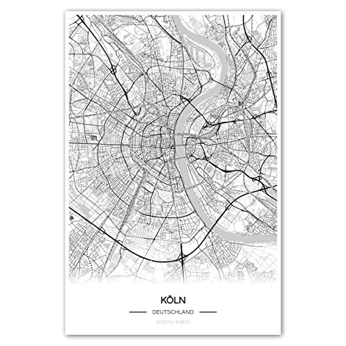 Zulumaps Poster 30x45cm Stadtplan Köln - Hochwertiger Kunstdruck