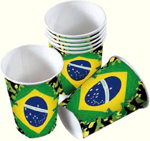 ILIEN WM 2014 * // Party Pappbecher Becher brasilianische Farben Grün Gelb Weltmeisterschaft Fussball ()