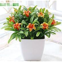 Hctina Fake artificial Flor Lily planta en maceta naranja