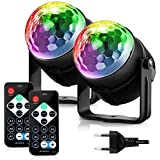 FIMEI Boule Disco 2 Pack, Lumière Soirée Lampe de Scène Éclairage de Discothèque Projecteur Effet Spot Stade Télécommande pou
