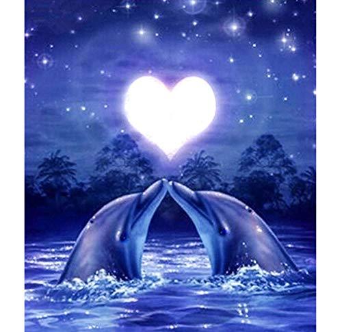 DIY 5D Diamond Love Delphin Full Square Daimond Painting Kreuzstich 3D Stickerei Kits Dimond Painting Animal Decor 40 x 50 cm (Mädchen Diamond Supply Co)