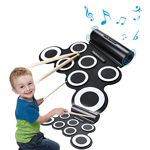 Roll Up Electronic Drum Portable Pad Kit with Speaker