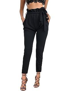 8d822f5a09f7 ISASSY Pantalons Femme Skinny Taille Haute Stretch Slim Crayon Pantalon  avec Ceinture