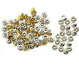 Weddecor 10x 8mm, Farbe: ab, Acryl mit Strass mit Zubehör für Rivet Nieten, Leder, zum Basteln, Designer-Gürtel, Kleidung, Taschen, Hunde-Halsbänder, metall, Mustard Orange, 50